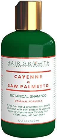 Hair Growth Cayenne & Saw palmetto Scalp Stimulating Botanical Shampoo, Original Formula Fights Hair Loss 10.2 oz