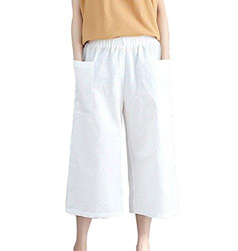 Pantalone Donna Estivi Elegante Moda Hipster Tempo Libero Pantaloni Taglie Forti Con Tasche Pantalone Larghi Femminile Monocromo Sciolto Moda Giovane Pantaloni Larghi Costume Bianca