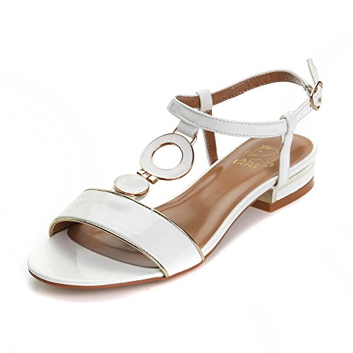 Alexis Leroy 2015 Summer Womens' Classic Buckle Design Fashion Flat Sandals White 40 M EU / 9-9.5 B(M) US