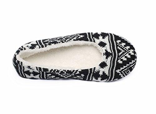Ofoot Women's Acrylic Fibers Jacquard Ballerina Slippers with Snowflake Patterns (Medium / 7-8 B(M) US, Black) Photo #3