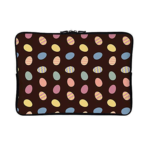 DKISEE Easter Eggs Pattern Neoprene Laptop Sleeve Case Waterproof Sleeve Case Cover Bag for MacBook/Notebook/Ultrabook/Chromebooks