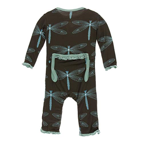 KicKee Pants Print Muffin Ruffle Coverall with Zipper (0-3 Months, Giant Dragonfly)
