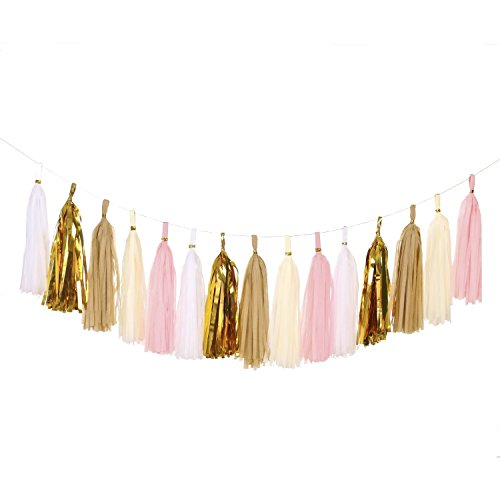 Lings-moment-15pcs-Tissue-Paper-Tassels-Garland-DIY-Kits-Mixed-5-ColorsIvoryPinkShiny-GoldWhiteKraft