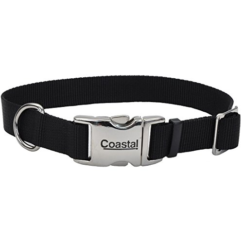 Coastal Pet Products Nylon Titan Adjustable Dog Collar with Metal, 1 Inch, Black ()