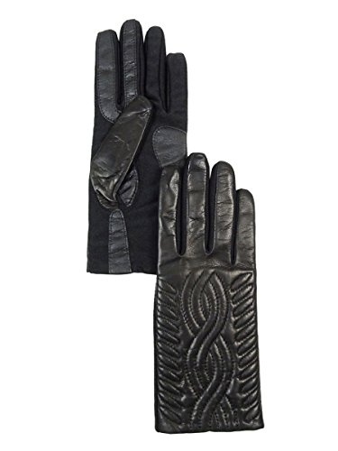 Isotoner Signature Women's Genuine Leather Scroll SmarTouch Dress Glove Black XS-S