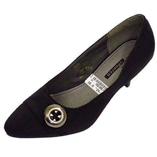 Damen Schwarz zum Reinschlüpfen Pumps Mit Pfennigabsatz Klein Welt Sekretärin Schuhe Pumps Größen 3-9