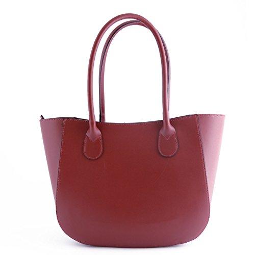 Sac Shopper En Cuir Véritable Pour Femme Cognac - Maroquinerie Fait En Italie - Sac Femme