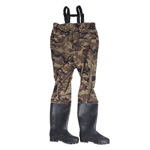 - Graspwind Chest Waders PVC Cleated Wading Boots Chest Fishing Waders for Outdoor Hunting Fly Fishing Adjustable Suspenders (US Size 9)