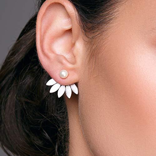 Boucles d/'Oreilles Clous Doré Mini Perle Noir Blanc Fait Main Artisanal XX23