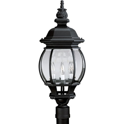 Progress Lighting P5401-31 4-Light Post Lantern with Clear Beveled Glass, Textured Black