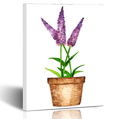 (Canvas Prints Wall Art Stretched Framed Watercolour Watercolor Lavender Flowers Leaves Pot Closeup Nature Flower Odor 8 x 10 Inches Modern Painting Home Decor Wrapped Gallery Artwork)
