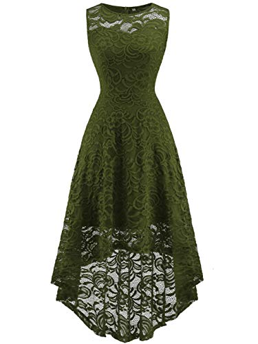 FAIRY COUPLE Women's Vintage Floral Lace Hi-Lo Sleeveless Cocktail Formal Swing Dress L Army Green -