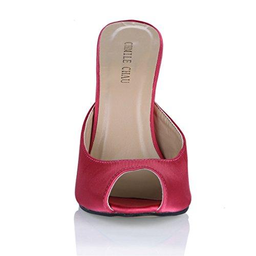 a rosa Moda Tacco Sandali Scarpe Sexy Peep Tacco CHMILE Partito Spillo da CHAU Satin Toe Alto a Donna Metallo UwqvB
