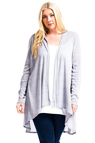 Modern Kiwi Plus Size Solid Essential Long Cascading Cardigan Heather Grey Ribbed 1X