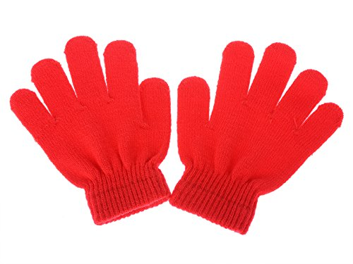 Pinksee Kids Boys Girls Winter Warm Stretchy Knitted Magic Gloves Red One Size ()