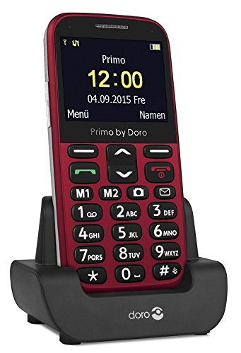 Premium Großtasten Handy Senioren Handy - ohne Vertrag - mit Taschenlampe + Kamera + Tischladestation rot