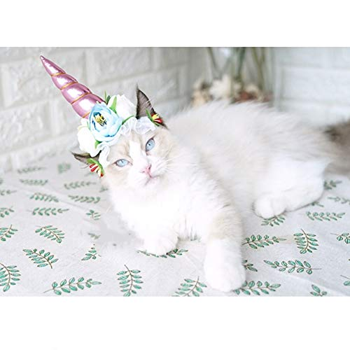 Stock Show 1Pc Halloween Pet Unicorn Shape Hat with Ribbon String Cat Dog Headwear with Flower Decor Pet Birthday Party Festival Supplies Halloween Pet Costume Accessory for Small Dog Cat, Pink -