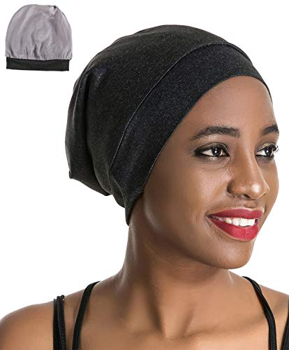 Slap Sleep Cap Night Hat - Black Women Organic Bamboo Cotton Satin Silk Satun Satin Lined Bonnet Slouchy Summer Scarf Hair Cover Beanie for Women Men Lady Lightweight Light Thin Jersey Chemo