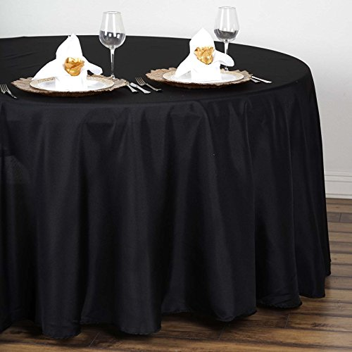 Efavormart 108 Wholesale Round Tablecloth Polyester Round Table Linens for Wedding Party Banquet Restaurant - Black