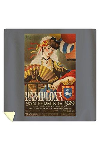 Pamplona Vintage Poster (artist: Acha y Ameiro) Spain c. 1949 (88x88 Queen Microfiber Duvet Cover) by Lantern Press