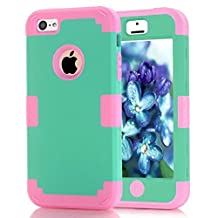 iPhone 5C Case Candy Color Series -Lantier Hybrid of Soft Silicone Interior and Hard PC Exterior Shield Slim Lightweight Shockproof Full Body Protective Case for iPhone 5C Mint Green+Hot Pink
