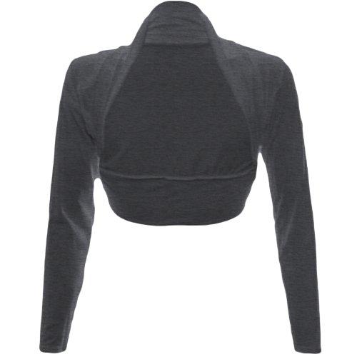 Fashion Wardrobe Womens Long Sleeve Boleros Shrugs Tops Ladies Casual Crop Cardigan Bolero Top ♥ (USA 10-12/UK 12-14 (M/L), Charcoal)