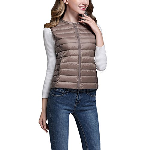 Khaki Zipper Gilet Bodywarmer Womens Jacket Sleeveless Packable ZhuiKun Coat Vest Down Ultralight qPHZzt