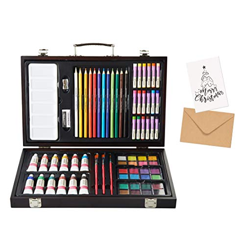 COLOUR BLOCK 73 pc Mixed Media Wooden Case Art Set with Coloring Card. Quality Drawing, Painting and Coloring Set in Deluxe Gift Box. Great Christmas Gift for The Aspiring Artist.