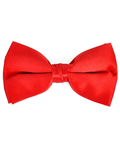 Men's Solid Banded Bow Ties (Red) (Him Boxed)