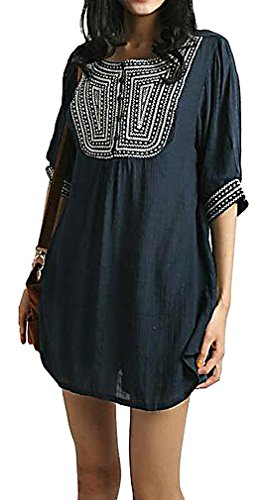 Mtrnty Womens Maternity Retro Style Loose Soft Short Sleeves Blouse Tunic Top  Blue