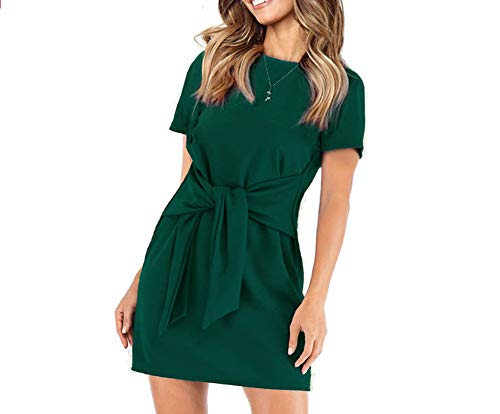 Satin Tie Waist Dress - Longwu Women's Loose Casual Front Tie Short Sleeve Bandage Dress for Party Work Summer Dark Green-XL