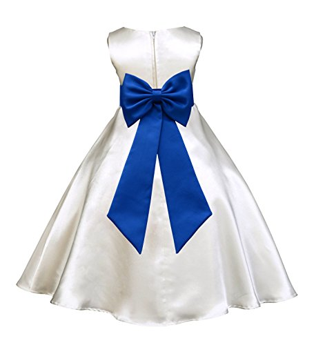 ekidsbridal Ivory Satin A-Line Flower Girl Dress Junior Bridesmaid Dress 821T 8 ()