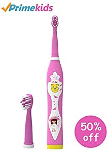 OJV Professional Kids Electric Sonic Rechargeable Toothbrush with 2 Dental Care Modes 4 Songs and 2 Replaceable Brush Heads (Pink-Sonic Toothbrush)