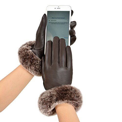 nuine Rex Rabbit Fur Italian Nappa Leather Gloves Touchscreen Full Palm Ladies Driving Glove M Brown-Z ()