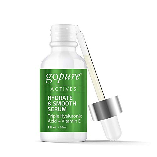 41Rf7wJIduL - goPure Actives Hyaluronic Acid Serum with Vitamin E & C for Anti Aging Face Serum Intensely Hydrates & Smoothes Appearance of Deep Wrinkles, Fine Lines, Dark Spots & Acne Scars - Cruelty Free