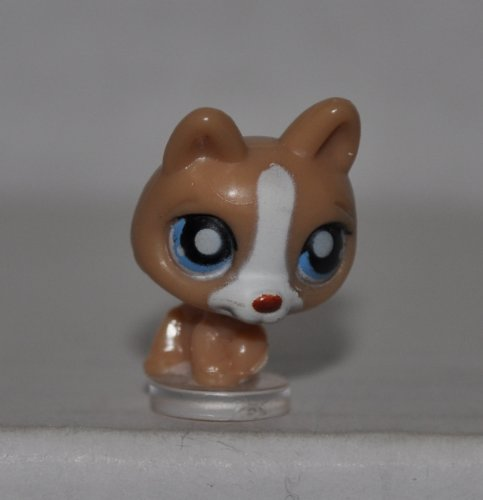 German Shepherd (Tan, Blue Eyes) Teeniest Tiniest - Littlest Pet Shop (Retired) Collector Toy - LPS Collectible Replacement Figure - Loose (OOP Out of Package & Print)