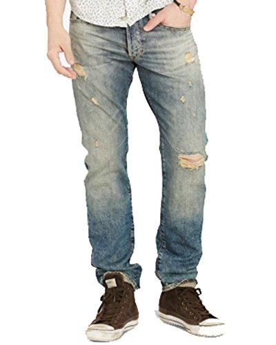 Denim & Supply Ralph Lauren Men's Slim Fit Oceanside Light Wash Deconstructed Ripped Jeans 33 X (Lauren Three Button Jeans)
