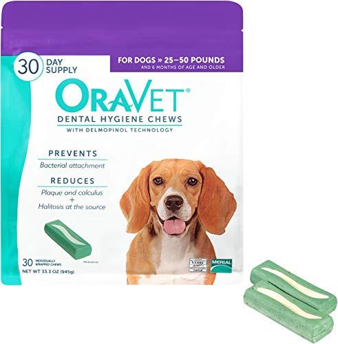 30 Extra Large Chews - OraVet Dental Hygiene Chews for Medium Dogs, 30 Count