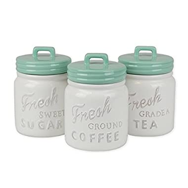 DII 3 - Pieces Vintage, Retro, Farmhouse Chic, Mason Jar Inspired Ceramic Kitchen Canister With Airtight Lid For Food Storage, Store Coffee, Sugar, Tea, Spices and More - Aqua