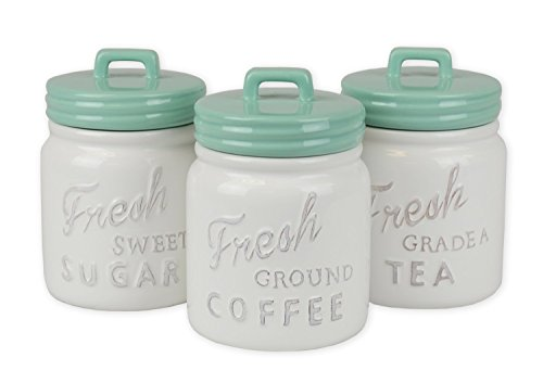 DII 3-Piece Vintage, Retro, Farmhouse Chic, Mason Jar Inspired Ceramic Kitchen Canister with Airtight Lid for Food Storage, Store Coffee, Sugar, Tea, Spices and More - Aqua (Tea Coffee Containers And)