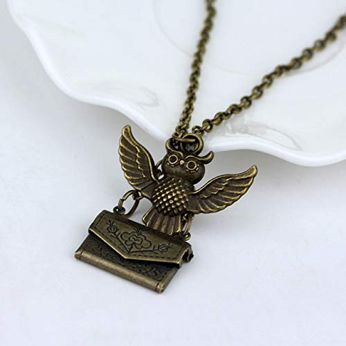 Gimax RJ Fashion HP Thunderbolt Flying Broom Metal Necklaces Antique Bronze Plated Witch Wizard Magic Broom Necklace Man Woman Choker - (Metal Color: Black Gun Plated)