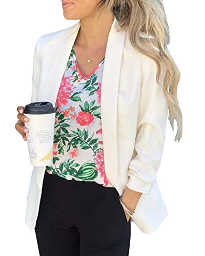 (Ofenbuy Womens Casual Blazer Ruched 3/4 Sleeve Open Front Relax Fit Office Lightweight Cardigan Jacket Blazers)