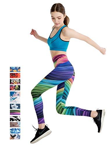 FINEMORE Women Digital Printed Yoga Leggings colorful Stretchy High Waist Yoga Pants Thin Capris A Rainbow XS-S(US 0-6)