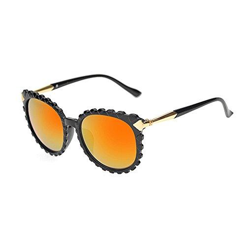 los sol de unisex Gafas de de forma plástico Retro ondulada UV conducción para Gafas de la de Gafas y sol las marco de sol para Gafas via la personalidad Naranja Protección bordeadas de hombres mujeres de sol PfCqdwq0