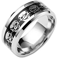 2018 Clearance Sale! Rings for Teen Boys Grils Jiayit Women's Men's Stainless Steel Punk Style Rings Skull Ring Hip Hop Ring Jewelry (9, Silver)