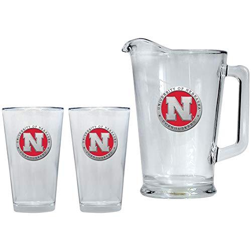 Heritage Metalwork Nebraska Cornhuskers Pitcher and 2 Pint Glass Set Beer Set