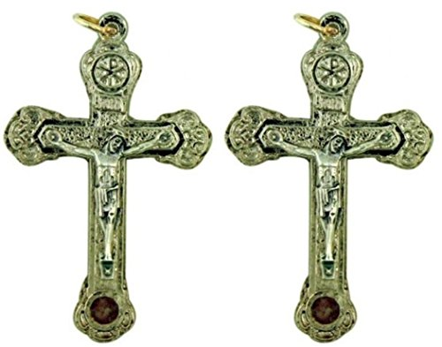 (Silver Tone Chi Rho Catacombs Dirt Relic Rosary Cross Crucifix, Lot of 2, 2 Inch)