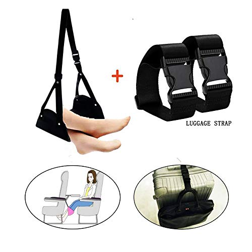 Airplane Footrest,Essentials Travel Accessories-Portable Foot Rest Hammock, Adjustable Flight Carry-On Leg Rest for Airplane Train Car Bus Home Office by ElitiSM