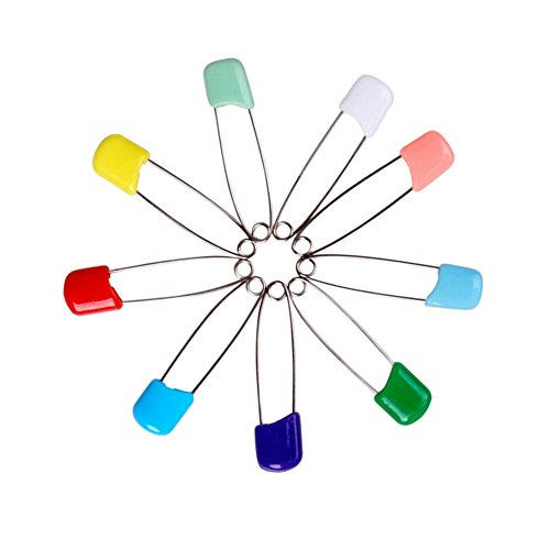Colorful Safety Pins Locking for baby care shower cloth diaper, pins brooch holder(50pcs)