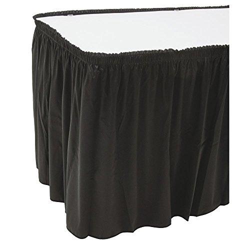 (Snap Drape Table Skirting Flame-Retardant Shirred Black Polyester - 29